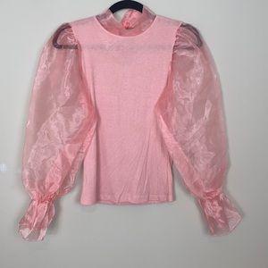 My Land Pink Organza Long Sleeve Mock Neck Top